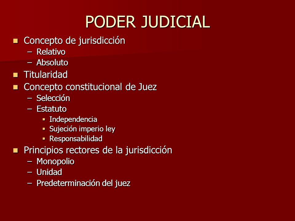 PODER JUDICIAL Concepto de jurisdicción Concepto de jurisdicción –Relativo –Absoluto Titularidad Titularidad Concepto constitucional de Juez Concepto