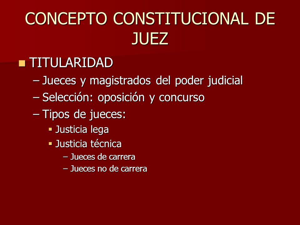 CONCEPTO CONSTITUCIONAL DE JUEZ TITULARIDAD TITULARIDAD –Jueces y magistrados del poder judicial –Selección: oposición y concurso –Tipos de jueces: Ju