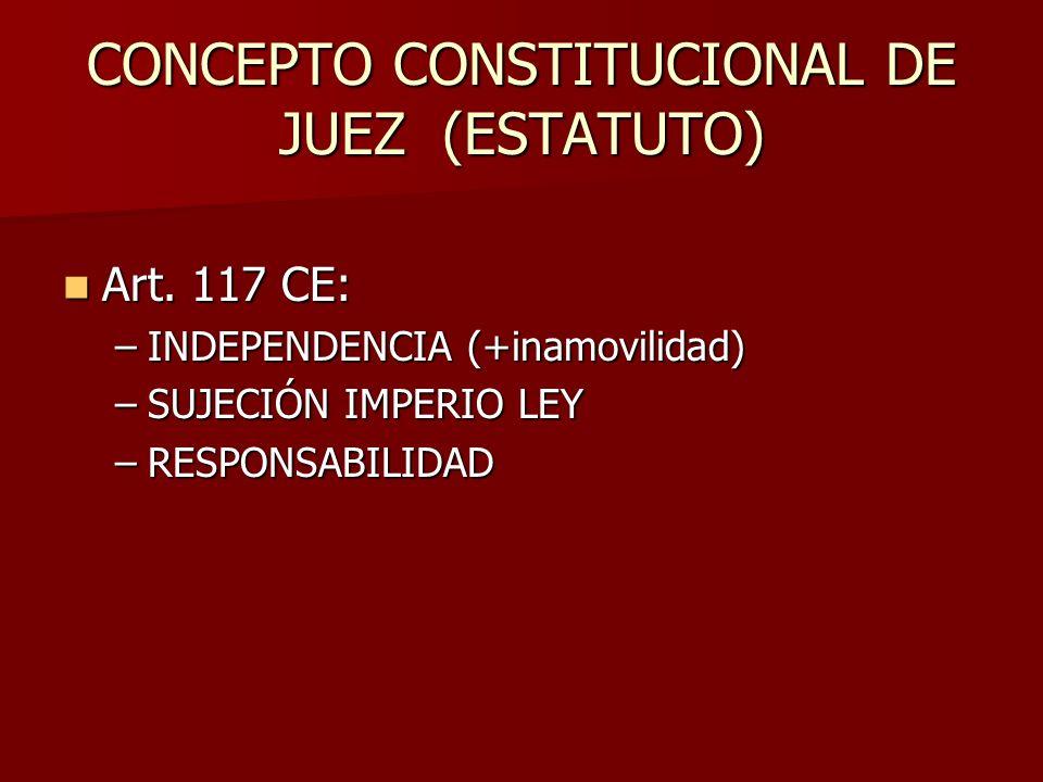 CONCEPTO CONSTITUCIONAL DE JUEZ (ESTATUTO) Art. 117 CE: Art. 117 CE: –INDEPENDENCIA (+inamovilidad) –SUJECIÓN IMPERIO LEY –RESPONSABILIDAD