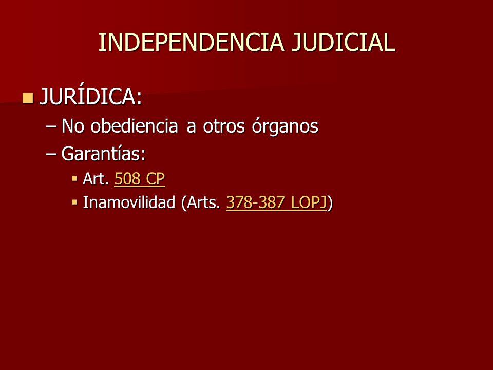 INDEPENDENCIA JUDICIAL JURÍDICA: JURÍDICA: –No obediencia a otros órganos –Garantías: Art. 508 CP Art. 508 CP508 CP508 CP Inamovilidad (Arts. 378-387
