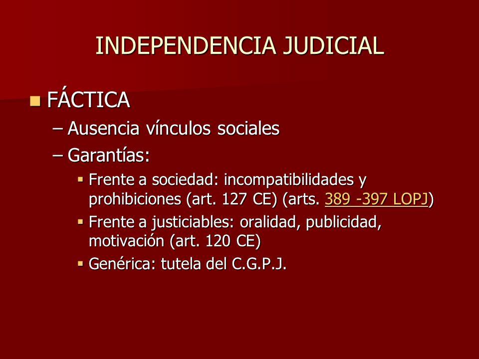 INDEPENDENCIA JUDICIAL FÁCTICA FÁCTICA –Ausencia vínculos sociales –Garantías: Frente a sociedad: incompatibilidades y prohibiciones (art. 127 CE) (ar