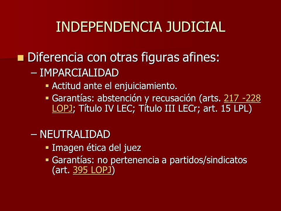 INDEPENDENCIA JUDICIAL Diferencia con otras figuras afines: Diferencia con otras figuras afines: –IMPARCIALIDAD Actitud ante el enjuiciamiento. Actitu
