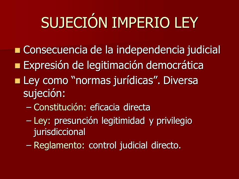 SUJECIÓN IMPERIO LEY Consecuencia de la independencia judicial Consecuencia de la independencia judicial Expresión de legitimación democrática Expresi
