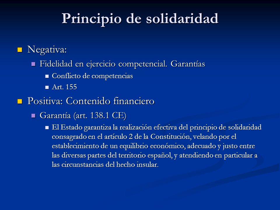 Principio de solidaridad Negativa: Negativa: Fidelidad en ejercicio competencial. Garantías Fidelidad en ejercicio competencial. Garantías Conflicto d