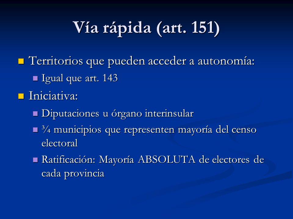 Vía rápida (art. 151) Territorios que pueden acceder a autonomía: Territorios que pueden acceder a autonomía: Igual que art. 143 Igual que art. 143 In