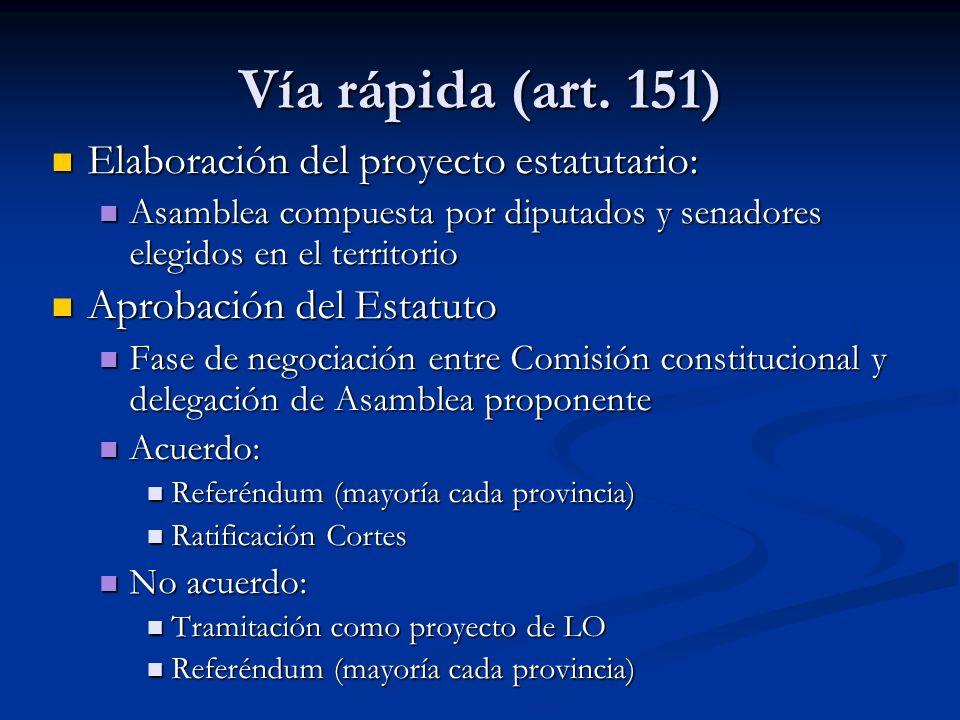 Vía rápida (art. 151) Elaboración del proyecto estatutario: Elaboración del proyecto estatutario: Asamblea compuesta por diputados y senadores elegido