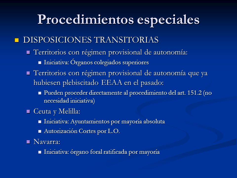 Procedimientos especiales DISPOSICIONES TRANSITORIAS DISPOSICIONES TRANSITORIAS Territorios con régimen provisional de autonomía: Territorios con régi
