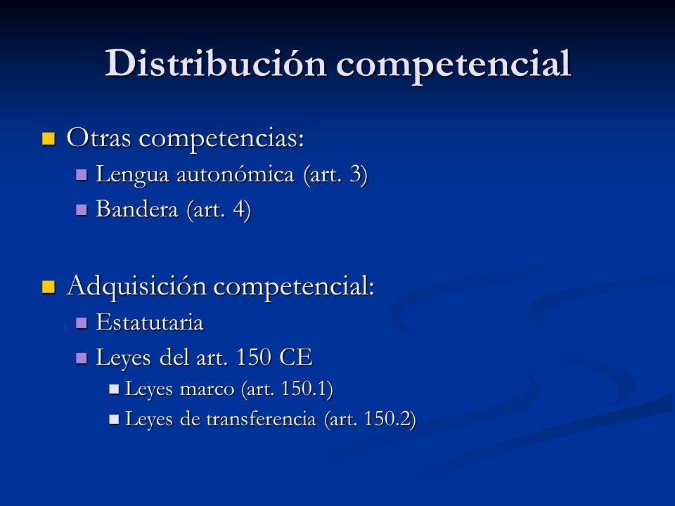 Distribución competencial Otras competencias: Otras competencias: Lengua autonómica (art. 3) Lengua autonómica (art. 3) Bandera (art. 4) Bandera (art.