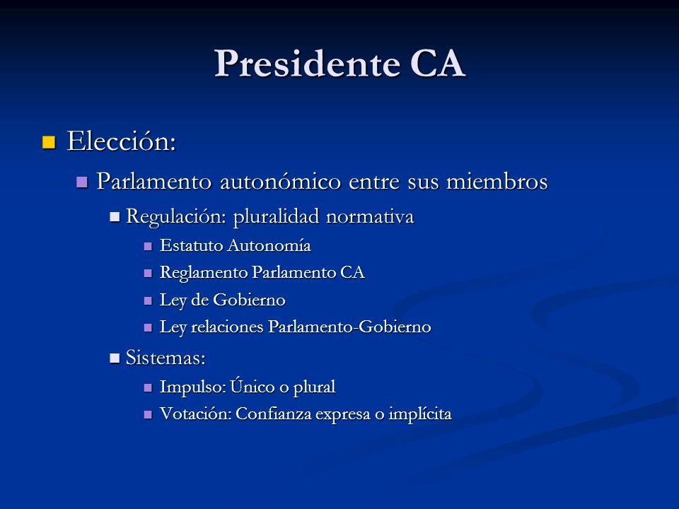 Presidente CA Elección: Elección: Parlamento autonómico entre sus miembros Parlamento autonómico entre sus miembros Regulación: pluralidad normativa R