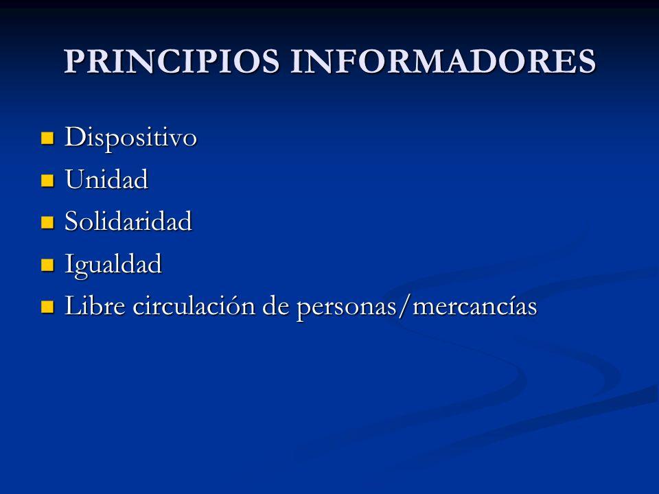 PRINCIPIOS INFORMADORES Dispositivo Dispositivo Unidad Unidad Solidaridad Solidaridad Igualdad Igualdad Libre circulación de personas/mercancías Libre