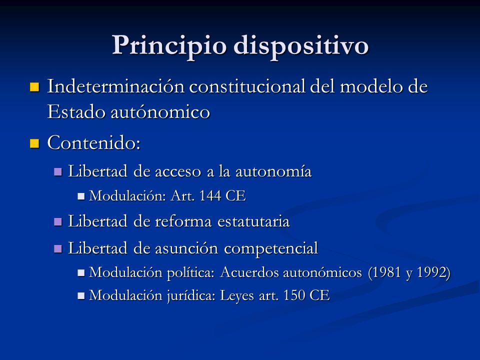 Principio dispositivo Indeterminación constitucional del modelo de Estado autónomico Indeterminación constitucional del modelo de Estado autónomico Co