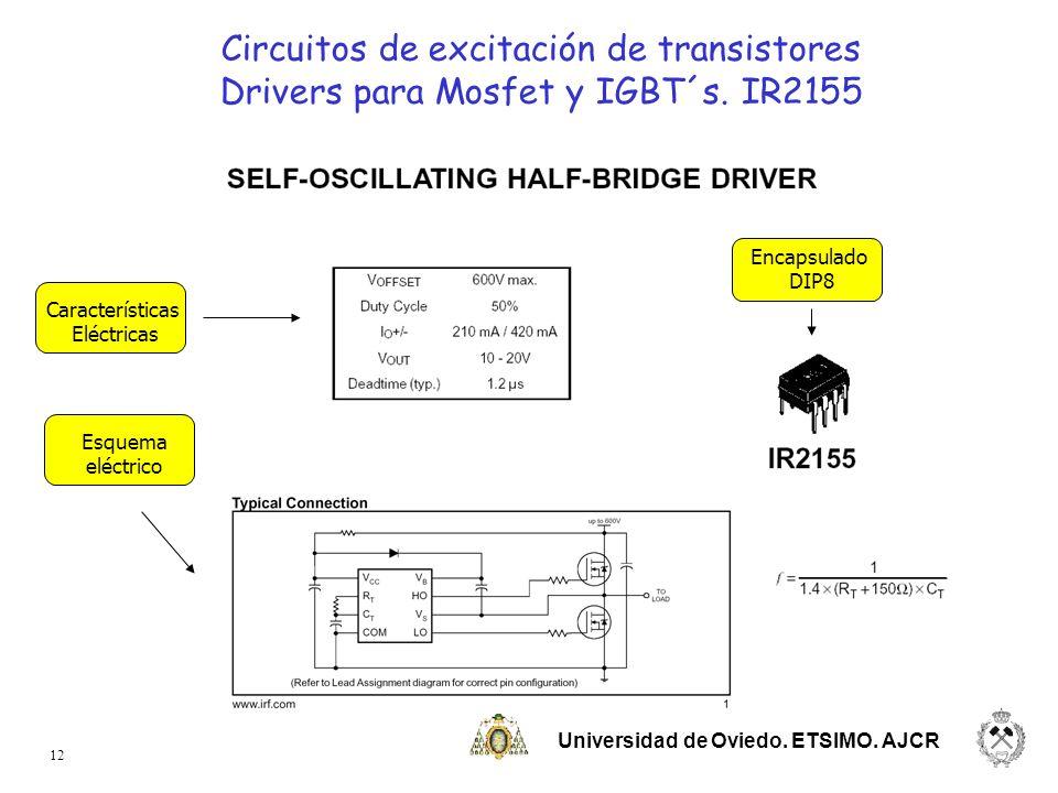 Universidad de Oviedo. ETSIMO. AJCR 12 Características Eléctricas Encapsulado DIP8 Esquema eléctrico Circuitos de excitación de transistores Drivers p