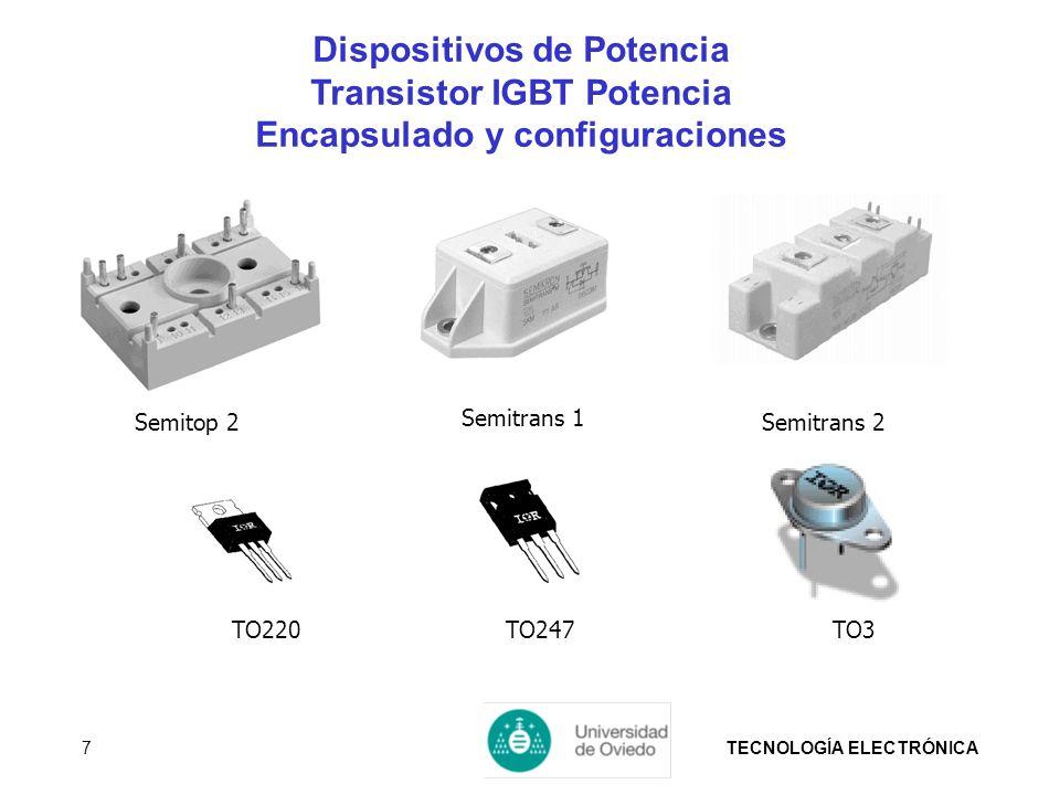 TECNOLOGÍA ELECTRÓNICA7 Semitrans 2 Semitrans 1 TO247TO220TO3 Semitop 2 Dispositivos de Potencia Transistor IGBT Potencia Encapsulado y configuracione