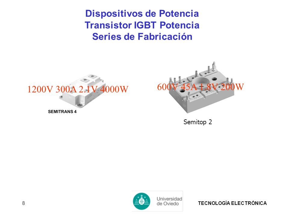 TECNOLOGÍA ELECTRÓNICA8 1200V 300A 2.1V 4000W Semitop 2 600V 45A 1.8V 200W Dispositivos de Potencia Transistor IGBT Potencia Series de Fabricación