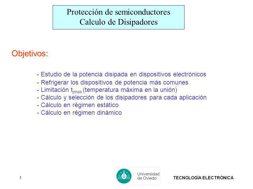 TECNOLOGÍA ELECTRÓNICA1 Objetivos: - Estudio de la potencia disipada en dispositivos electrónicos - Refrigerar los dispositivos de potencia más comune
