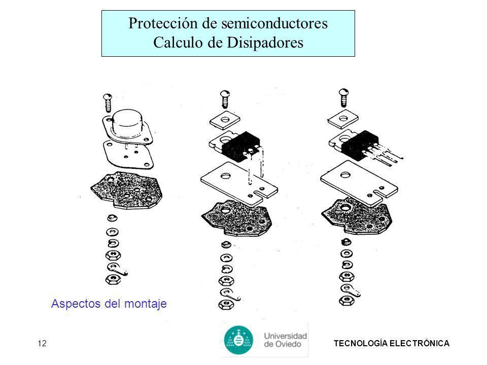 TECNOLOGÍA ELECTRÓNICA12 Aspectos del montaje Protección de semiconductores Calculo de Disipadores