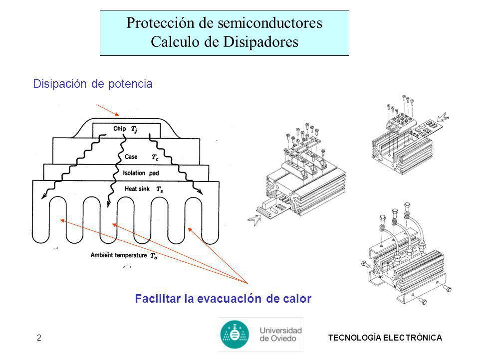 TECNOLOGÍA ELECTRÓNICA2 Disipación de potencia Facilitar la evacuación de calor Protección de semiconductores Calculo de Disipadores