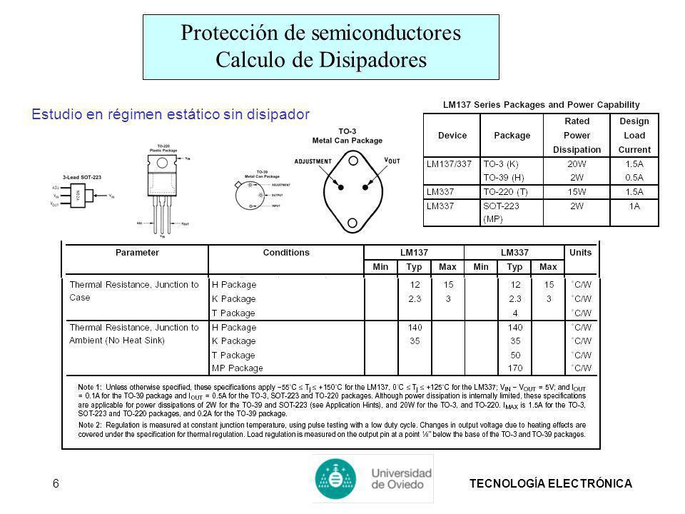 TECNOLOGÍA ELECTRÓNICA6 Estudio en régimen estático sin disipador Protección de semiconductores Calculo de Disipadores