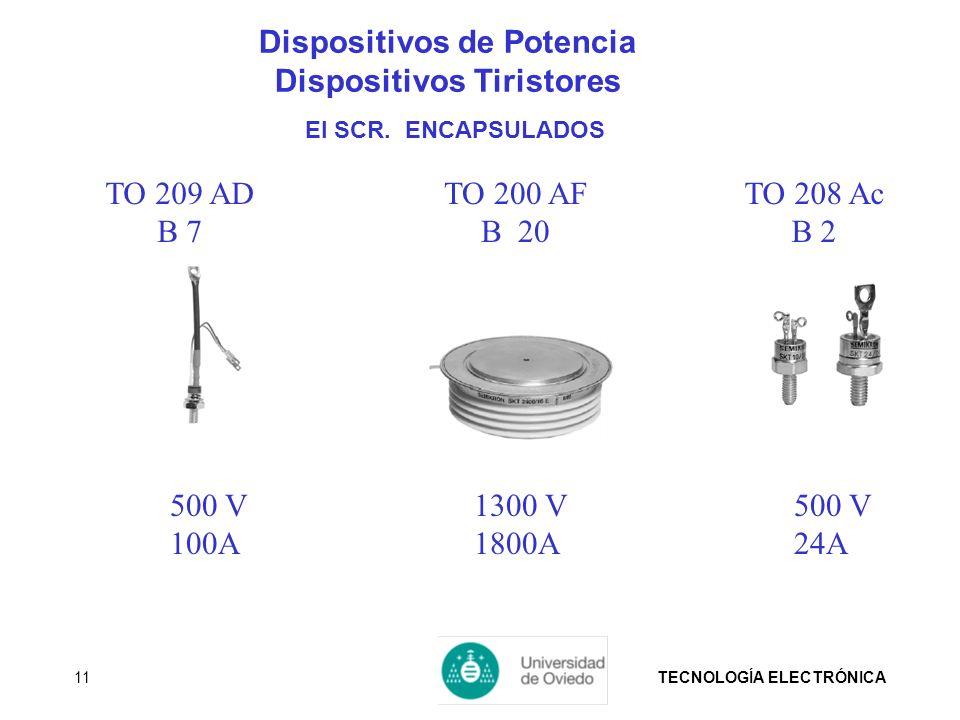TECNOLOGÍA ELECTRÓNICA11 500 V 24A 1300 V 1800A 500 V 100A TO 200 AF B 20 TO 209 AD B 7 TO 208 Ac B 2 Dispositivos de Potencia Dispositivos Tiristores