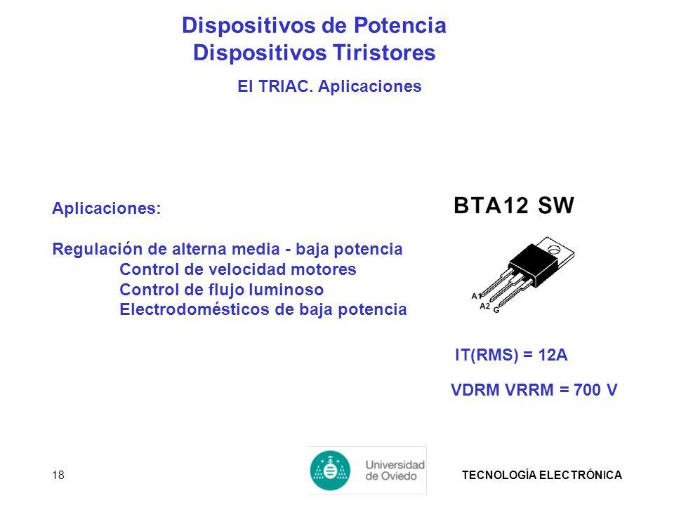 TECNOLOGÍA ELECTRÓNICA18 Aplicaciones: Regulación de alterna media - baja potencia Control de velocidad motores Control de flujo luminoso Electrodomés