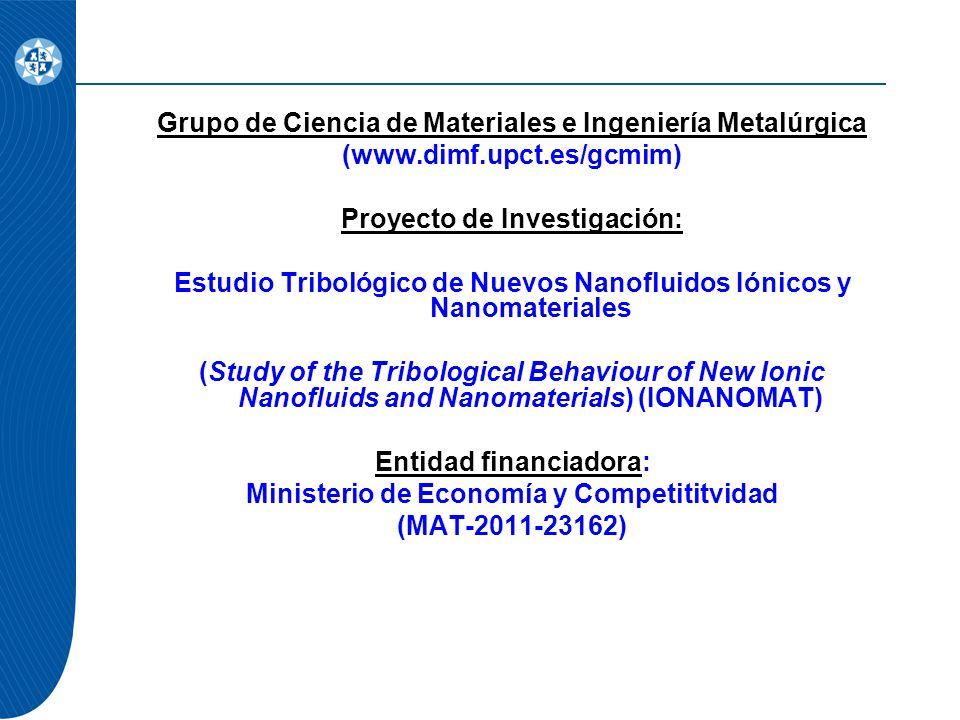 Grupo de Ciencia de Materiales e Ingeniería Metalúrgica (www.dimf.upct.es/gcmim) Proyecto de Investigación: Estudio Tribológico de Nuevos Nanofluidos Iónicos y Nanomateriales (Study of the Tribological Behaviour of New Ionic Nanofluids and Nanomaterials) (IONANOMAT) Entidad financiadora: Ministerio de Economía y Competititvidad (MAT-2011-23162)