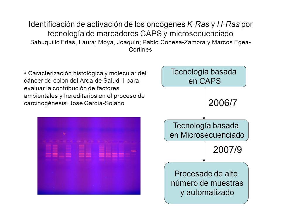 Identificación de activación de los oncogenes K-Ras y H-Ras por tecnología de marcadores CAPS y microsecuenciado Sahuquillo Frías, Laura; Moya, Joaquí
