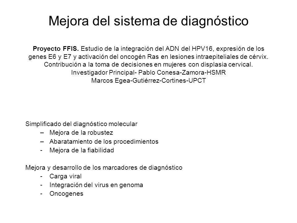 Mejora del sistema de diagnóstico Proyecto FFIS. Estudio de la integración del ADN del HPV16, expresión de los genes E6 y E7 y activación del oncogén