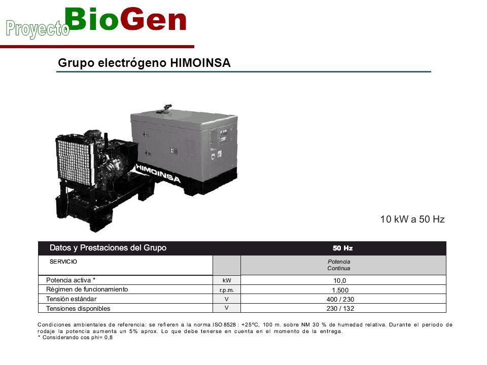 Grupo electrógeno HIMOINSA Motor YANMAR 3TNV88-GGE(3 cilindros en línea y refrigerado con agua)