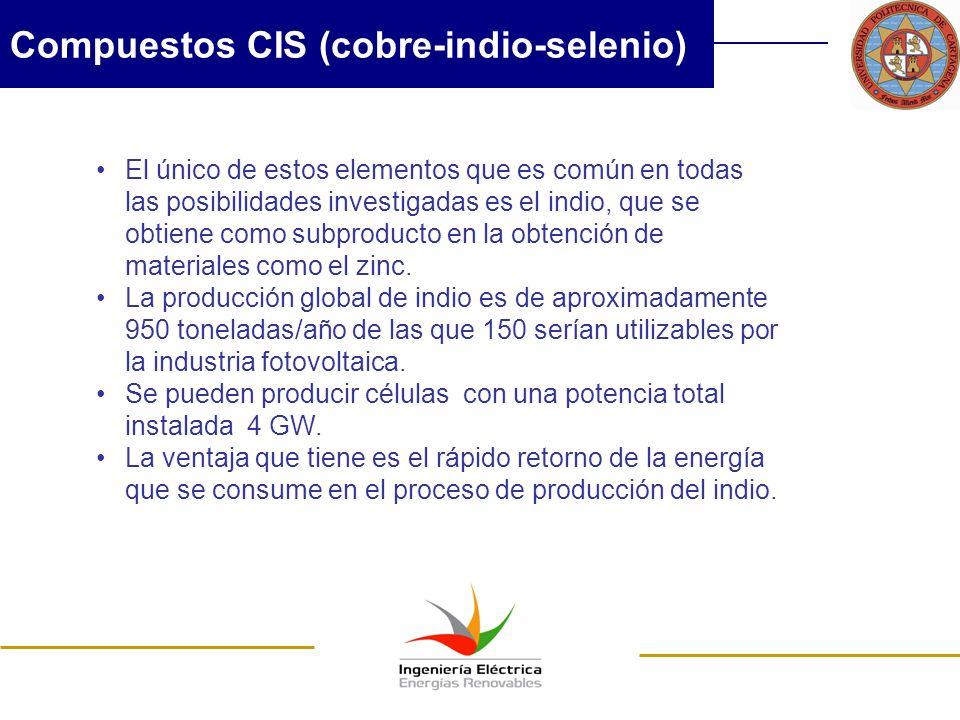 Compuestos CIS (cobre-indio-selenio) El único de estos elementos que es común en todas las posibilidades investigadas es el indio, que se obtiene como