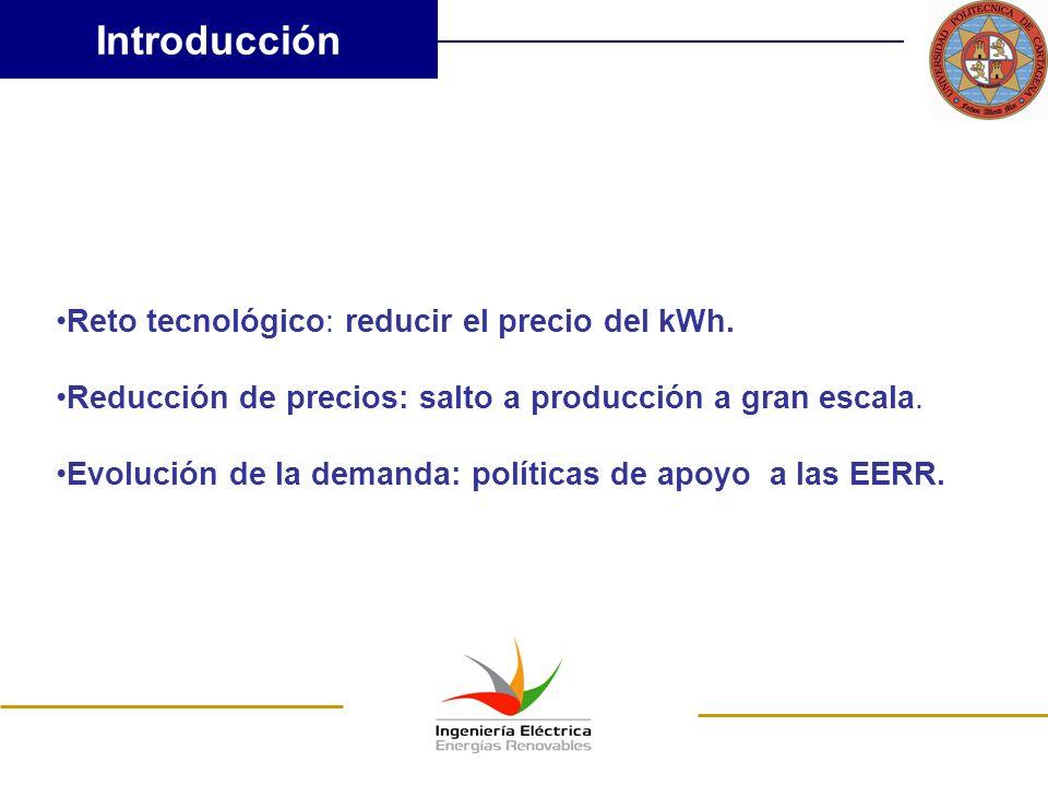 Introducción Reto tecnológico: reducir el precio del kWh. Reducción de precios: salto a producción a gran escala. Evolución de la demanda: políticas d