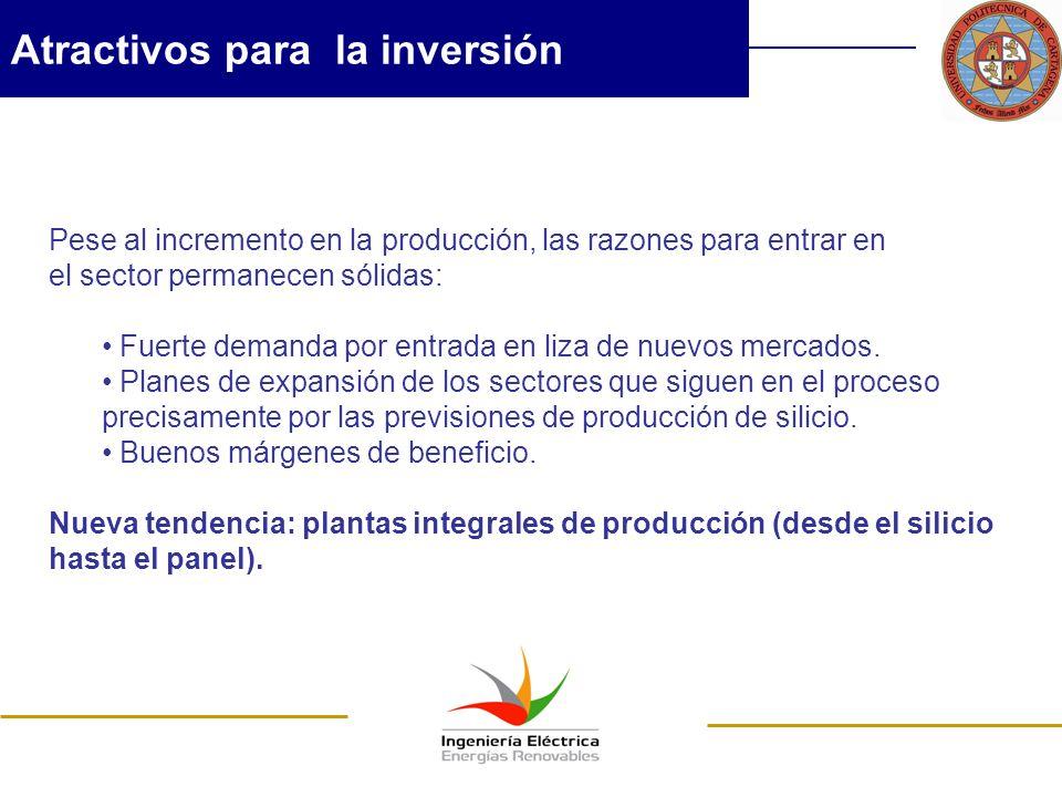 Atractivos para la inversión Pese al incremento en la producción, las razones para entrar en el sector permanecen sólidas: Fuerte demanda por entrada