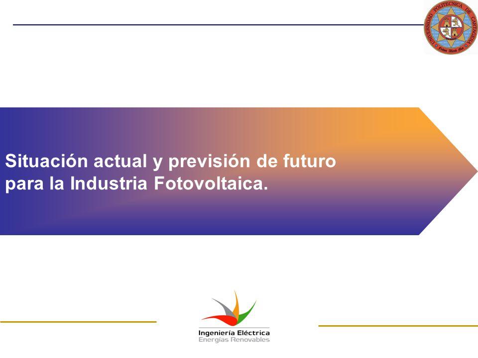 Situación actual y previsión de futuro para la Industria Fotovoltaica.