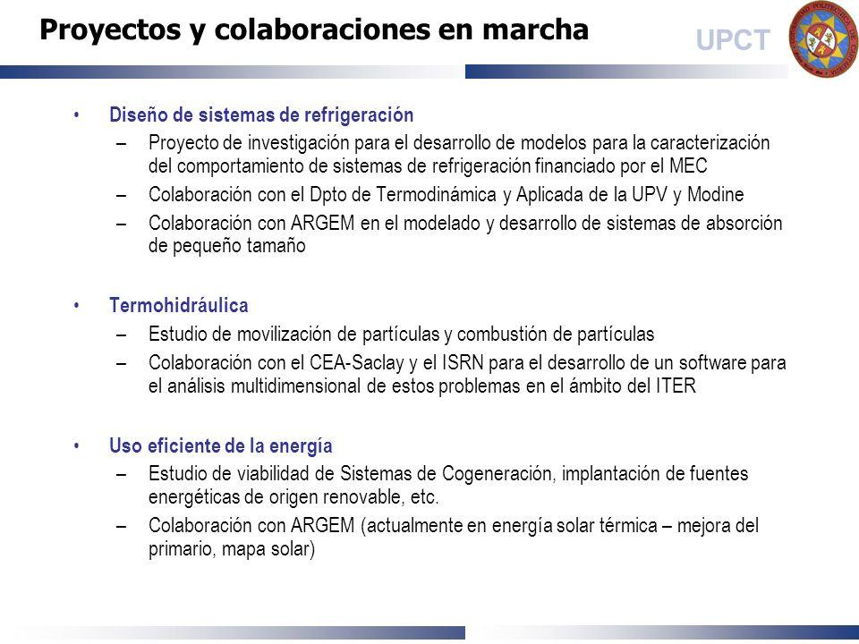 UPCT Diseño de sistemas de refrigeración –Proyecto de investigación para el desarrollo de modelos para la caracterización del comportamiento de sistem