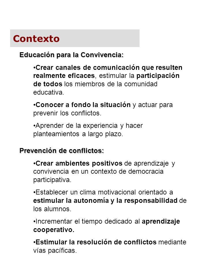 Contexto Educación para la Convivencia: Crear canales de comunicación que resulten realmente eficaces, estimular la participación de todos los miembro