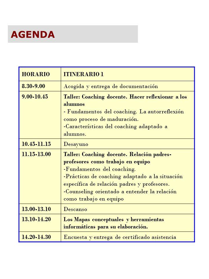 HORARIOITINERARIO 1 8.30-9.00Acogida y entrega de documentación 9.00-10.45Taller: Coaching docente. Hacer reflexionar a los alumnos - Fundamentos del