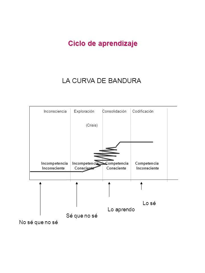 Inconsciencia Exploración Consolidación Codificación (Crisis) Incompetencia Incompetencia Competencia Competencia Inconsciente Consciente Consciente I