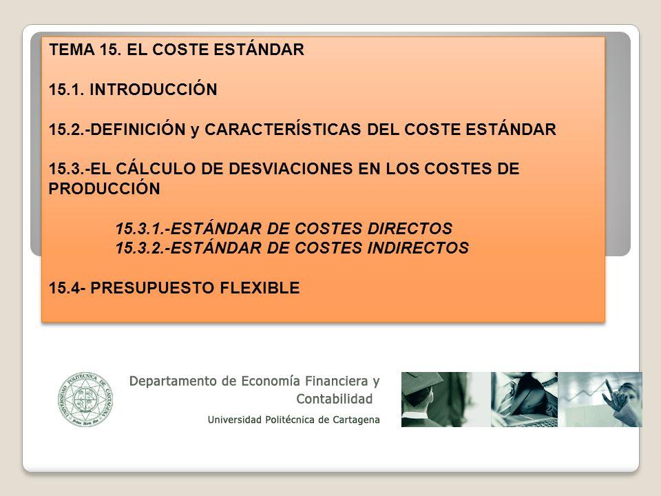 TEMA 15. EL COSTE ESTÁNDAR 15.1. INTRODUCCIÓN 15.2.-DEFINICIÓN y CARACTERÍSTICAS DEL COSTE ESTÁNDAR 15.3.-EL CÁLCULO DE DESVIACIONES EN LOS COSTES DE