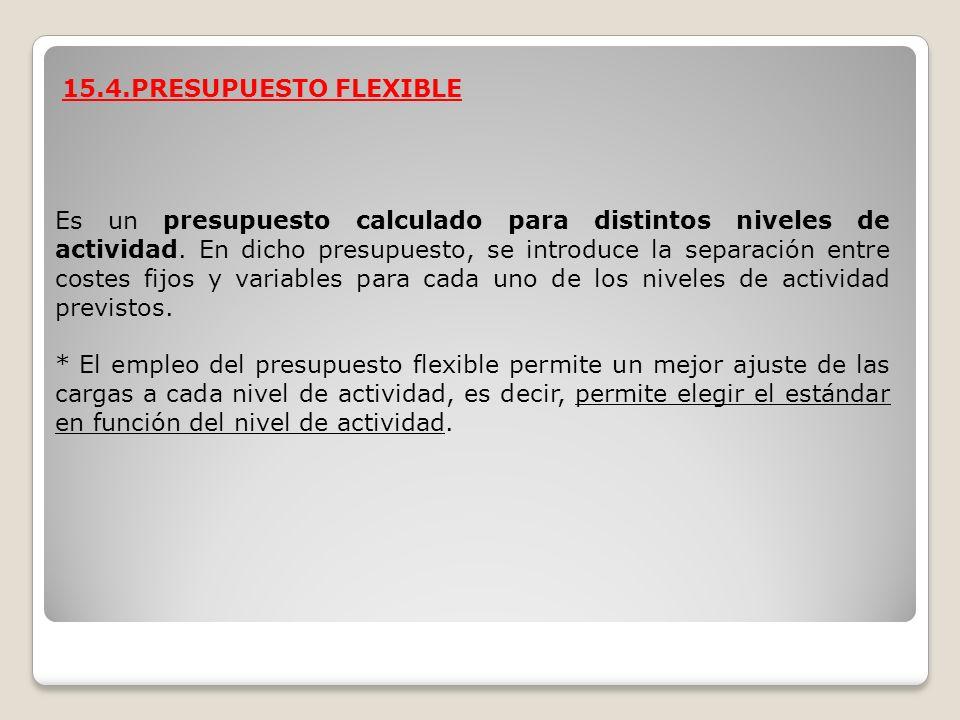 15.4.PRESUPUESTO FLEXIBLE Es un presupuesto calculado para distintos niveles de actividad. En dicho presupuesto, se introduce la separación entre cost