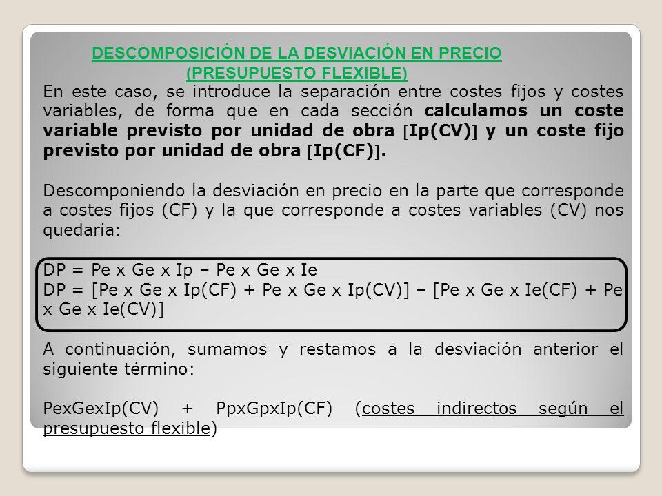 En este caso, se introduce la separación entre costes fijos y costes variables, de forma que en cada sección calculamos un coste variable previsto por