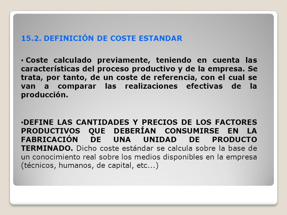15.2. DEFINICIÓN DE COSTE ESTANDAR Coste calculado previamente, teniendo en cuenta las características del proceso productivo y de la empresa. Se trat