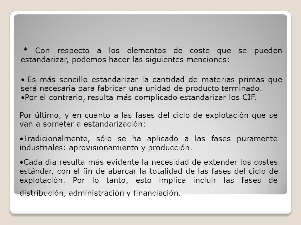 15.3.-EL CÁLCULO DE DESVIACIONES EN LOS COSTES DE PRODUCCIÓN 15.3.1.-ESTÁNDAR DE COSTES DIRECTOS Hipótesis: Los costes directos son totalmente variables.
