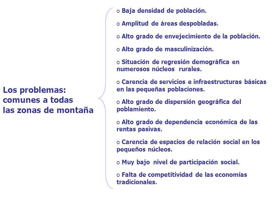 Los problemas: comunes a todas las zonas de montaña o Baja densidad de población.