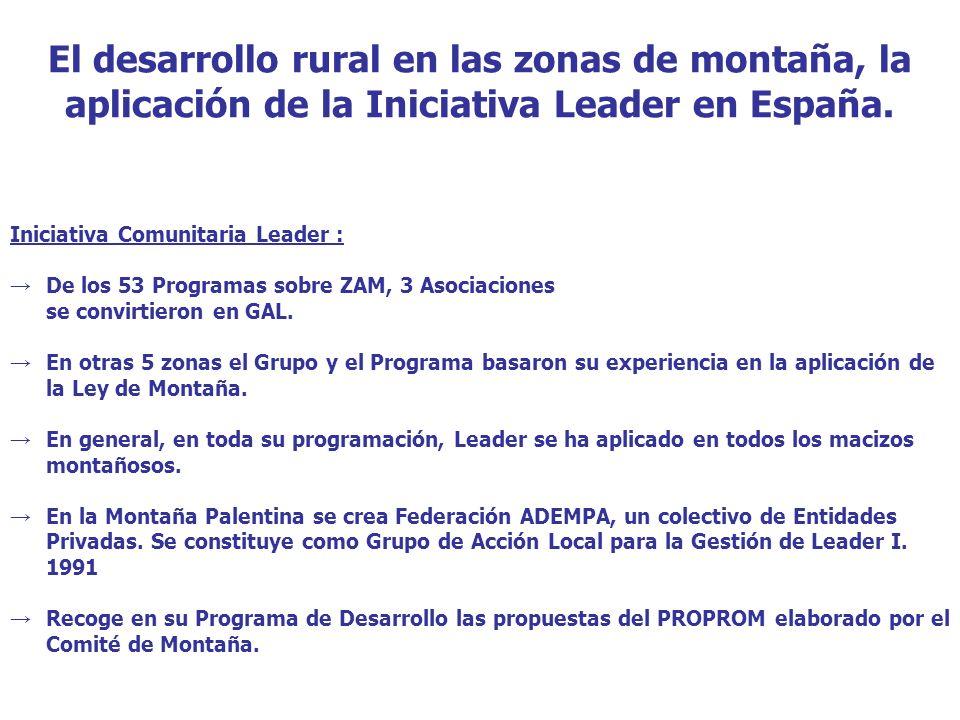 El desarrollo rural en las zonas de montaña, la aplicación de la Iniciativa Leader en España.