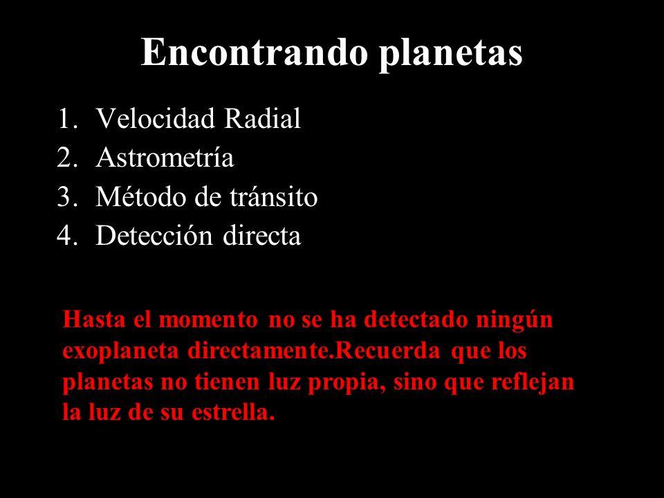 Encontrando planetas 1.Velocidad Radial 2.Astrometría 3.Método de tránsito 4.Detección directa Hasta el momento no se ha detectado ningún exoplaneta d