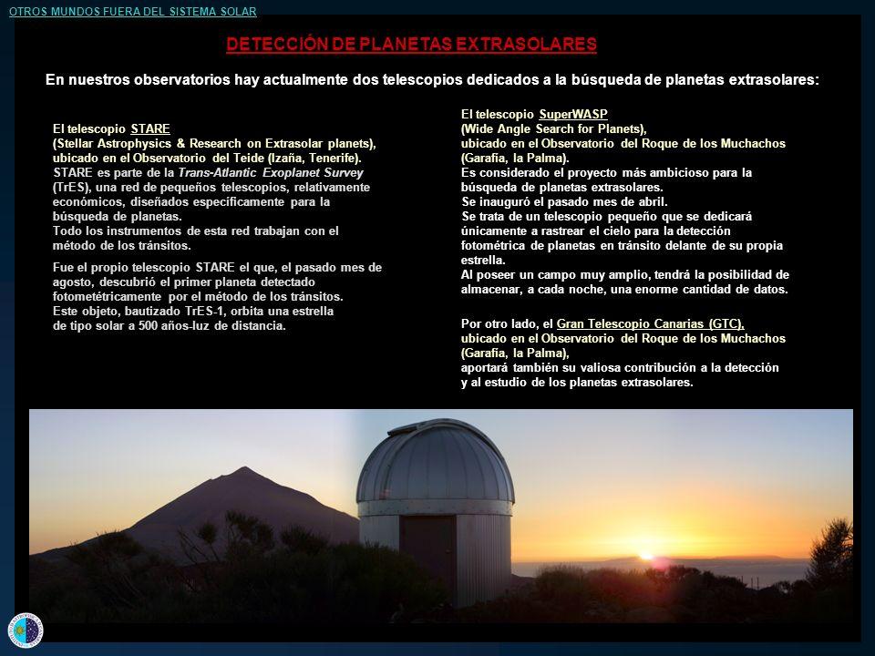 En nuestros observatorios hay actualmente dos telescopios dedicados a la búsqueda de planetas extrasolares: El telescopio STARE (Stellar Astrophysics & Research on Extrasolar planets), ubicado en el Observatorio del Teide (Izaña, Tenerife).