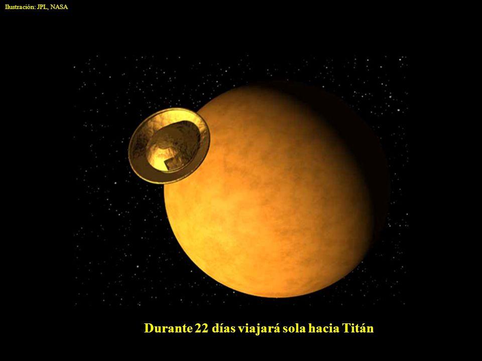 Durante 22 días viajará sola hacia Titán Ilustración: JPL, NASA