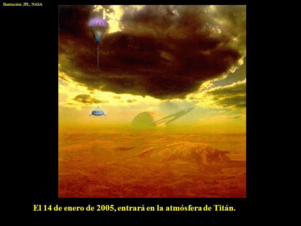 El 14 de enero de 2005, entrará en la atmósfera de Titán. Ilustración: JPL, NASA