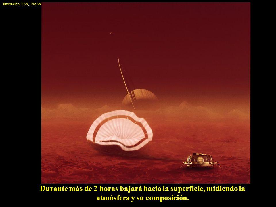 Durante más de 2 horas bajará hacia la superficie, midiendo la atmósfera y su composición. Ilustración: ESA, NASA
