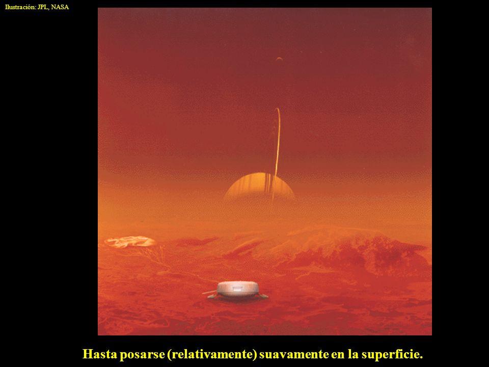 Hasta posarse (relativamente) suavamente en la superficie. Ilustración: JPL, NASA