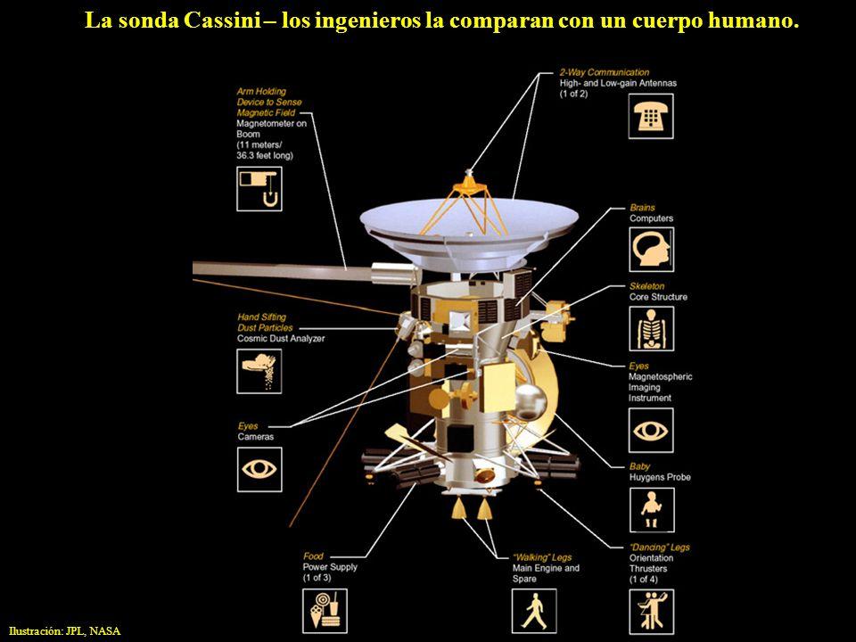 La sonda Cassini – los ingenieros la comparan con un cuerpo humano. Ilustración: JPL, NASA